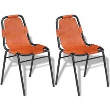 Chaise de table x2 Marron en cuir 59x44x89cm