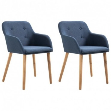Chaise de table x2 Bleu en tissu