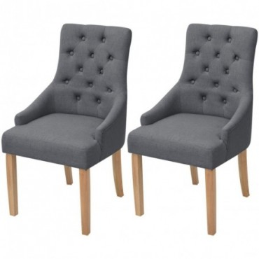 Chaise de table x2 en bois de chêne en tissu Gris foncé