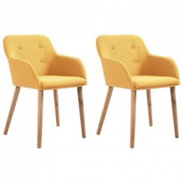 Chaise de table x2 Jaune en tissu