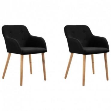 Chaise de table x2 Noir en tissu