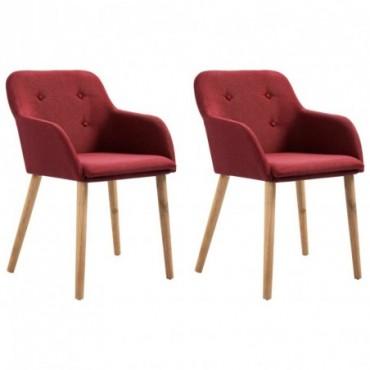 Chaise de table x2 Rouge bordeaux en tissu