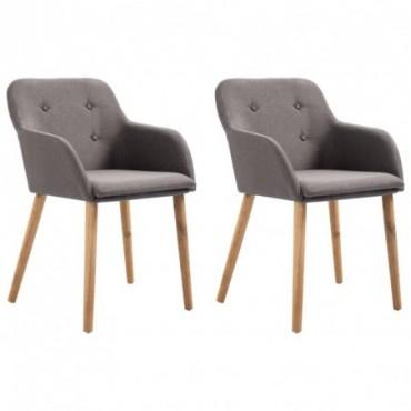 Chaise de table x2 Taupe en tissu