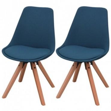 Chaise de table x2 en tissu Bleu 49x55,5x83cm