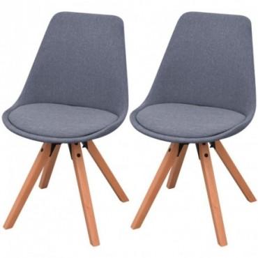 Chaise de table x2 en tissu Gris clair