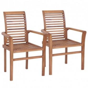 Chaise de table empilables x2 en teck massif
