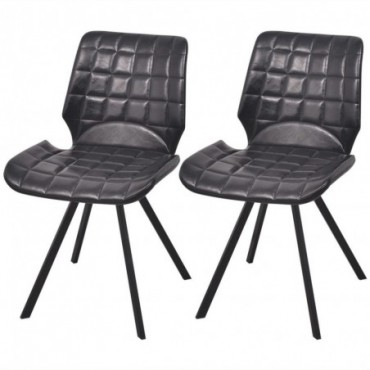 Chaise de table en cuir artificiel x2 Noir