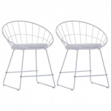 Chaise de table Siège en similicuir x2 Blanc en acier 58x51x72,5cm