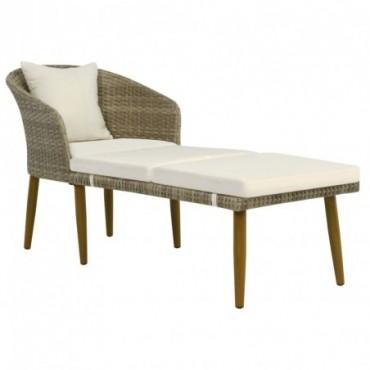 Chaise longue de jardin Gris/beige en résine tressée