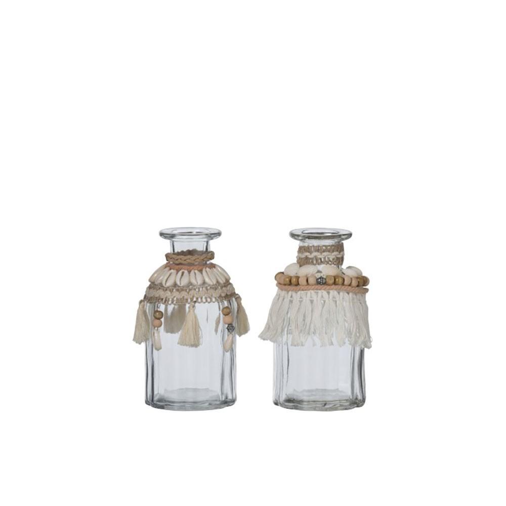 Vase Coquillages Verre Beige (Assortiment de 2)