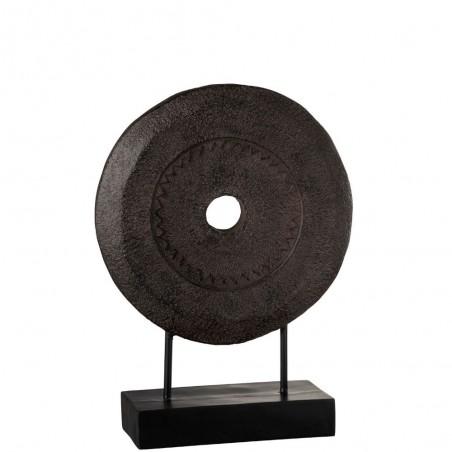 Cercle Rugueux Sur Pied Resine Marron Large