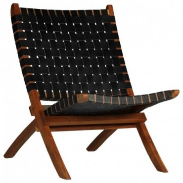 Chaise relax en cuir véritable Bandes Noir 59x72x79cm