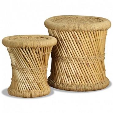 Tabouret x2 en bambou en jute