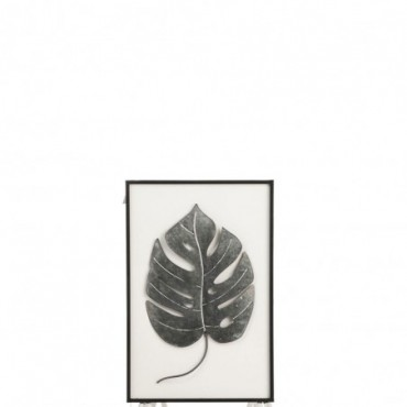 Cadre Feuille Metal/Bois Noir/Blanc