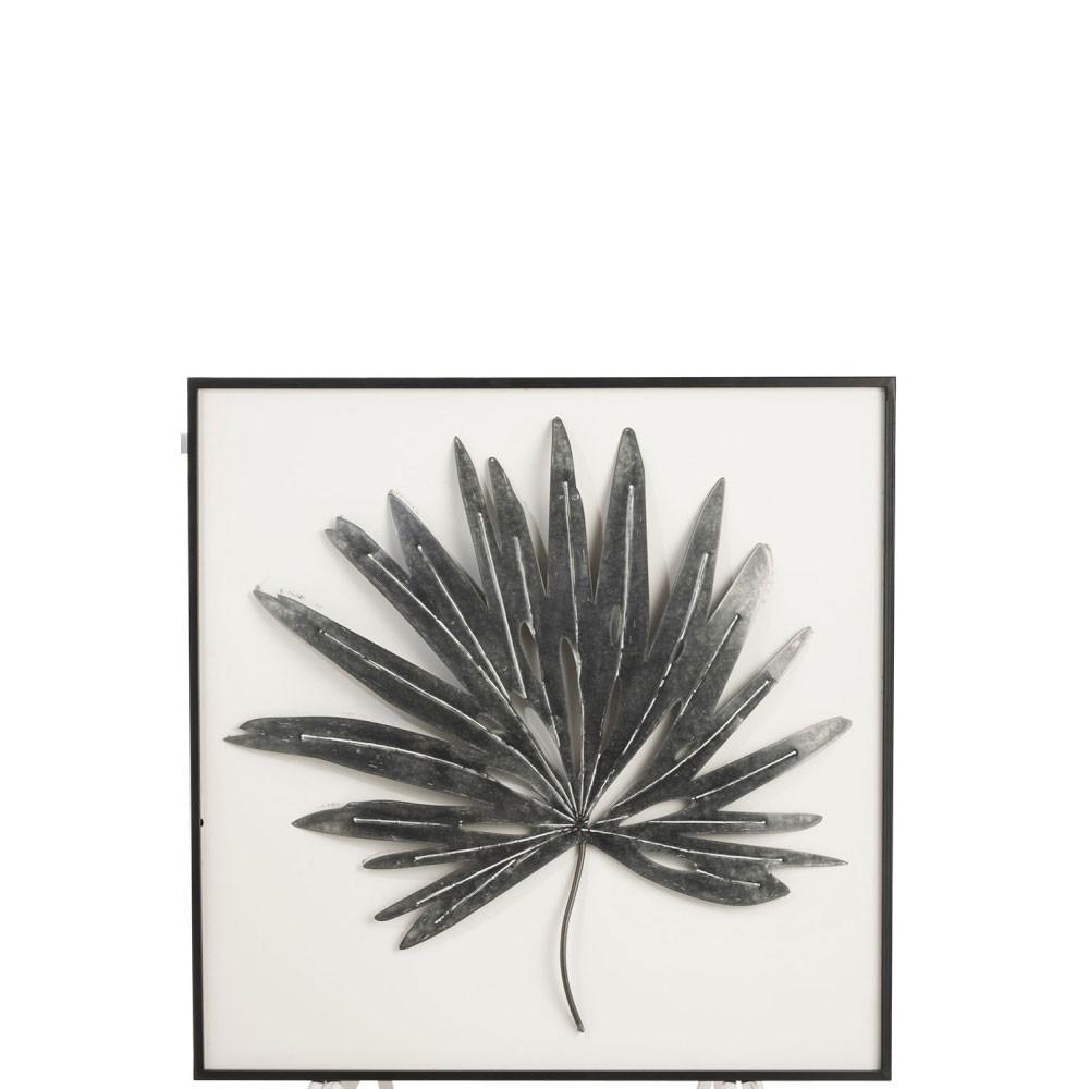 Cadre Feuille Pointue Metal/Bois Noir/Blanc