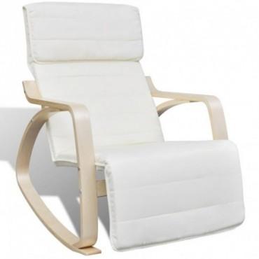 Rocking chair avec cadre en bois cintré en tissu Réglable Crème