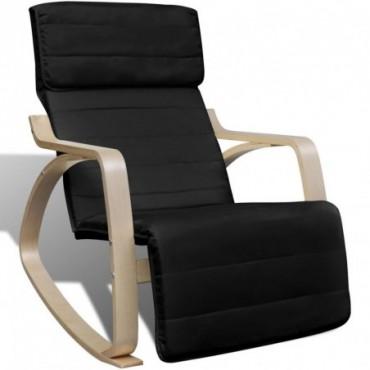 Rocking chair avec cadre en bois cintré en tissu Réglable Noir