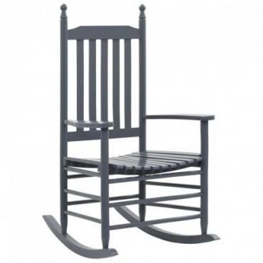 Rocking chair avec siège incurvé Gris en bois
