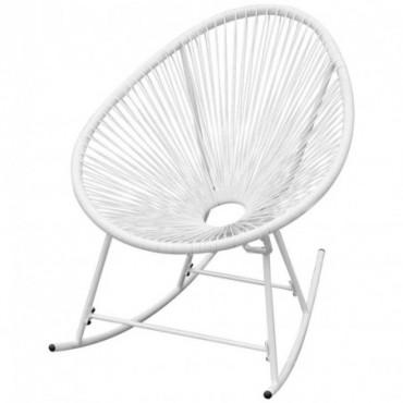 Rocking chair Acapulco de jardin en rotin synthétique blanc