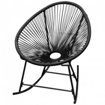Rocking chair Acapulco de jardin en rotin synthétique noir