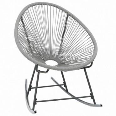 Rocking chair Acapulco de jardin forme de lune en résine tressée Gris