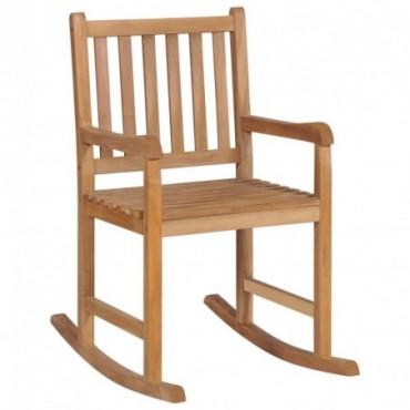 Rocking chair en teck massif Marron 58x92,5x106cm