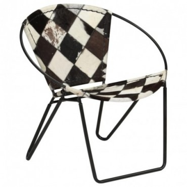 Chaise relax en cuir véritable Losanges Noir 69x69x69cm