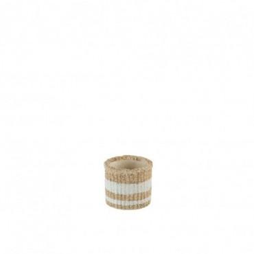 Cachepot Lignes Ciment Naturel/Blanc Small