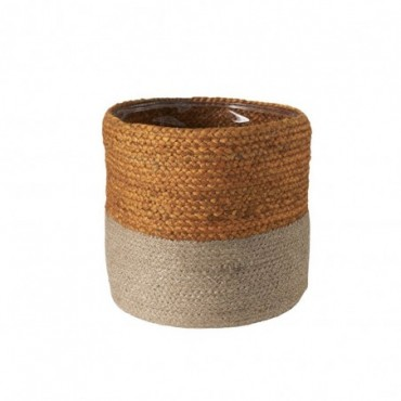 Cachepot Cylindrique Jute Orange/Naturel Large