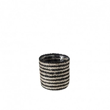 Cachepot Cylindrique Jute Noir Naturel Small