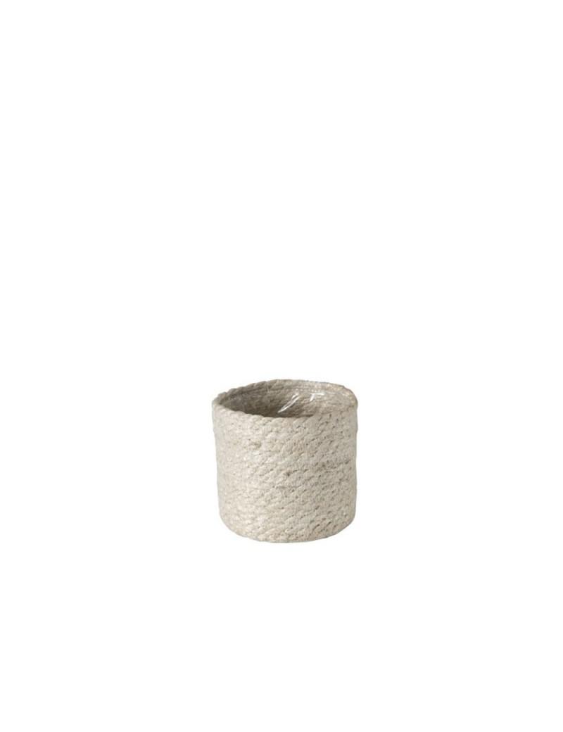 Cachepot Cylindrique Jute Blanc Small